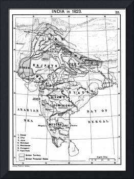 Vintage Map of India (1823) BW