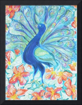 Peacock with Flowers I
