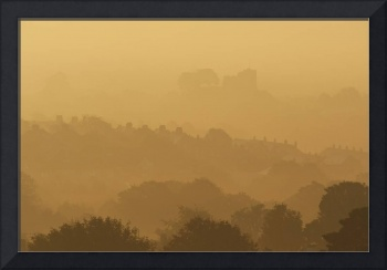 The Town And Castle Of Lewes Early On A Misty, Aut