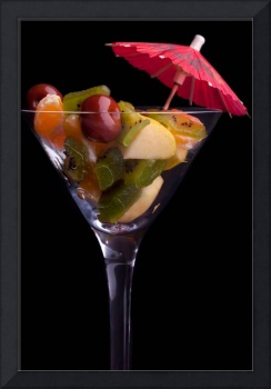 Cup With Fruit Salad On Black Background