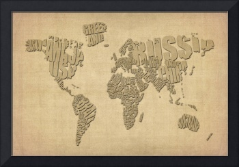 Typographic Text Map of the World