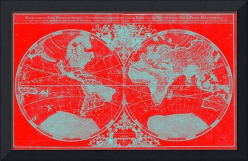 World Map (1691) Red & Light Blue