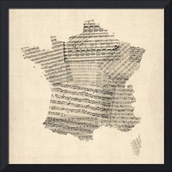 Map of France Old Sheet Music Map