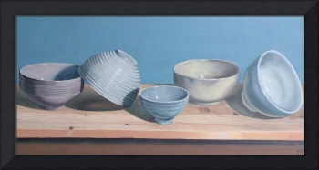 5 bowls on pine 2008 oil on board
