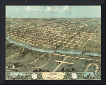 Vintage Pictorial Map of Iowa City (1868)