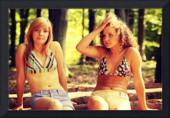 2 young women relaxing on summer day