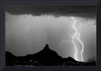 Lightning Thunderstorm at Pinnacle Peak BW