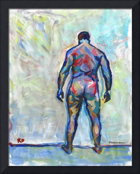 Against The Wall male nude painting picture