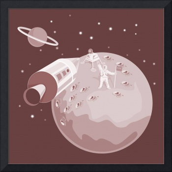 Astronaut Landing On Moon retro