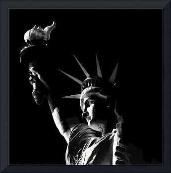 Statue of Liberty in Black and White Illustration.