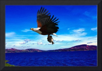 African Fish Eagle Over Lake Victoria