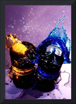GOLD & BLUE SPLASH, MAGENTA BACKGROUND STILL LIFE