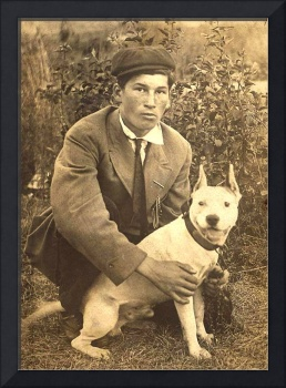 Vintage image of Boy with White Pitbull