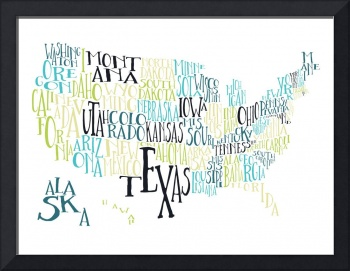 Teal Lime US Typography Map
