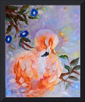 pink flamingo and morning glory ,50x60,2017