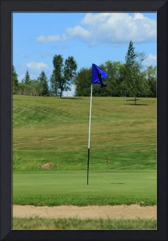 Blue Flag on a Golf Course