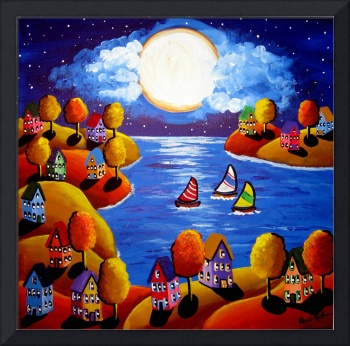 Fall Night Sail Full Moon