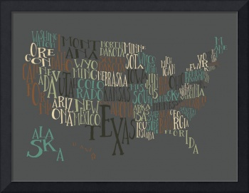 Deep Earth US Typography Map