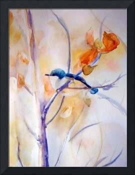 Nuthatch In Branches watercolor by CheyAnne Sexton