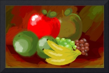 Digital painting of fruits