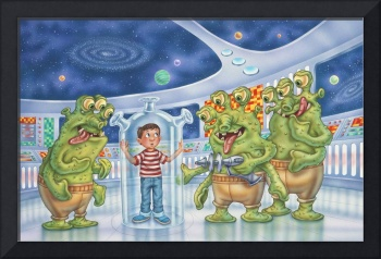 Aliens, space ship, kids art, space, boy, illustra