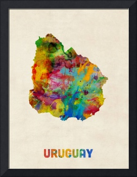 Uruguay Watercolor Map