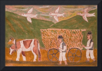 Eastern European Folk Art Naive Painting