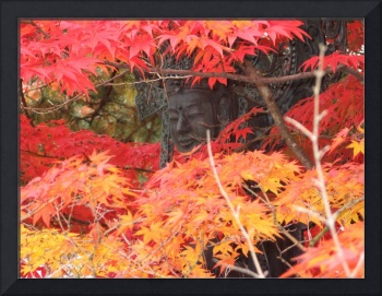 Kannon face between the red leaves