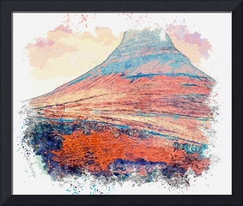 Kirkjufell, Iceland watercolor by Ahmet Asar