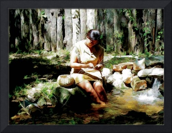 Cherokee Woman Weaving Traditional Basket