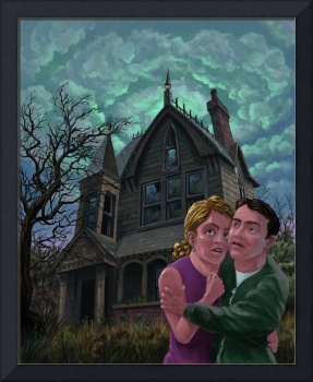 couple outside haunted house