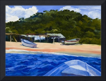 Warren Keating MEXICO BEACH BOATS Fine Art Print