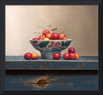 Still life with cherries in chinese bowl