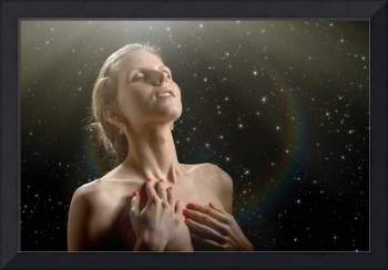 aroused woman stars rays