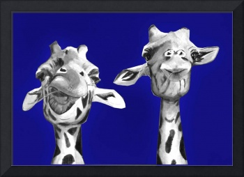 Giraffe painting - buddies on blue - giraffe buddi