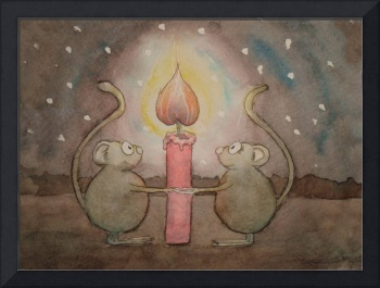 Mice Holding Hands Around Candle Love