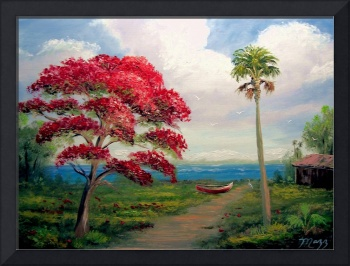 Royal Poinciana and Canoe