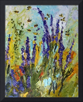 Lavender & Bees Provence Oil Painting by Ginette