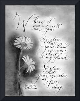 Romantic quote black and white calligraphy art