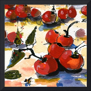 Modern Cherries Square Watercolor by Ginette