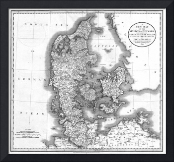 Vintage Map of Denmark (1801) BW