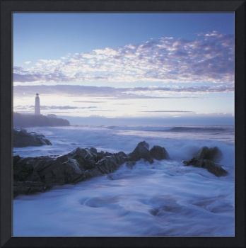 Waves And Cap Des Rosiers Lighthouse At Dusk, Queb