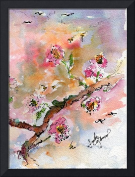 Cherry Blossoms Branch Watercolor