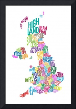 Great Britain County Text Map