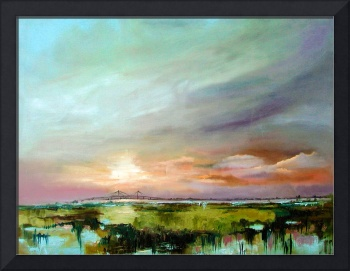 Salt Marsh Sunset Original Oil Painting by Ginette