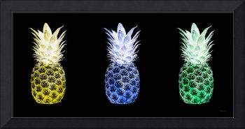 Triptych 14X Artistic Pineapple Yellow Blue Green