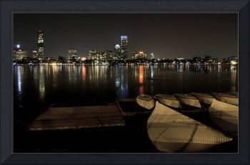Boston at night from the boathouse