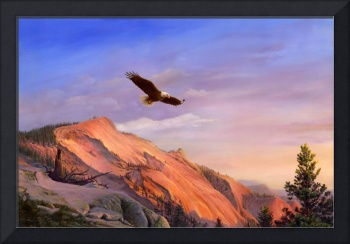 Bald Eagle Flying Western Bird Art Landscape Decor