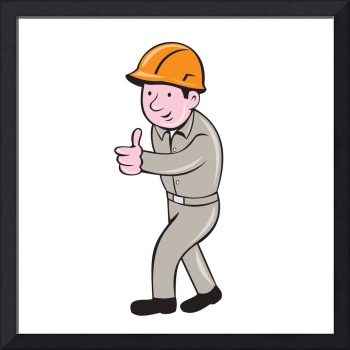 Builder Construction Worker Pointing Cartoon