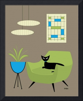 Mid Century Mini Abstract in Green and Blue